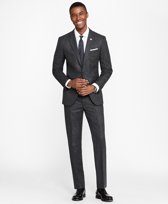 Milano Fit Stretch Flannel 1818 Suit Charcoal