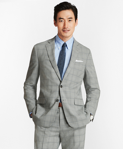 Regent Fit BrooksCool® Open Plaid Suit