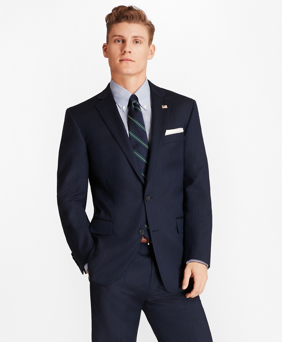 Regent Fit Saxxon™ Wool Bead Stripe 1818 Suit Navy