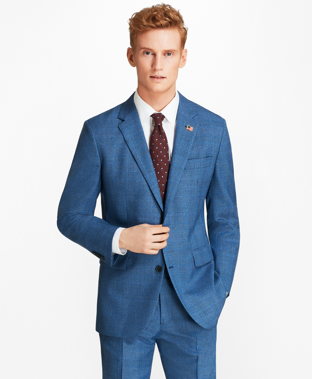 Retro Clothing for Men | Vintage Men's Fashion Brooks Brothers Mens Milano Fit Plaid 1818 Suit $499.00 AT vintagedancer.com