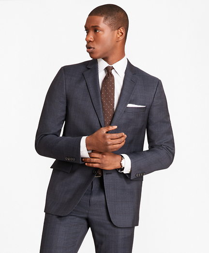 Regent Fit Saxxon™ Wool Blue Plaid 1818 Suit