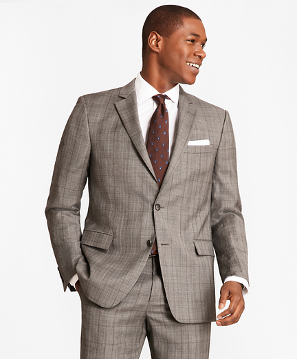 Regent Fit Saxxon™ Wool Grey Plaid 1818 Suit