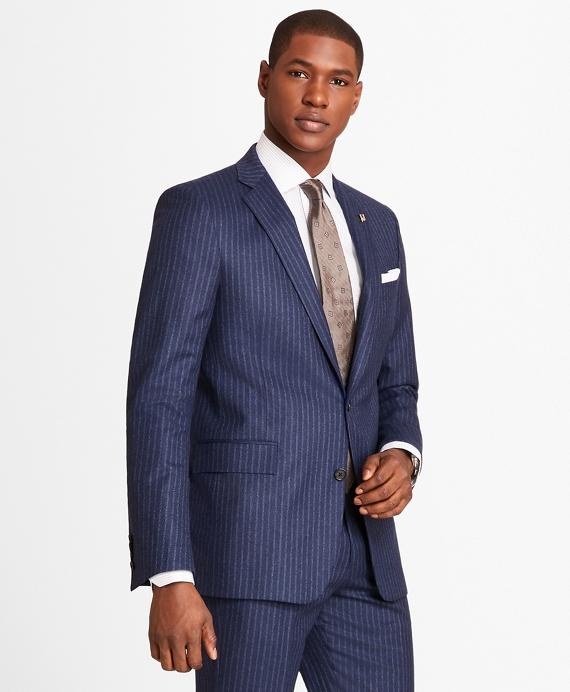 Regent Fit Double Stripe Flannel 1818 Suit Blue