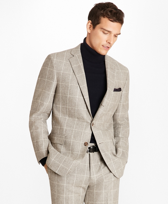 Regent Fit Windowpane Flannel 1818 Suit Tan