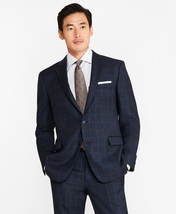 Regent Fit Saxxon™ Wool Windowpane 1818 Suit Blue