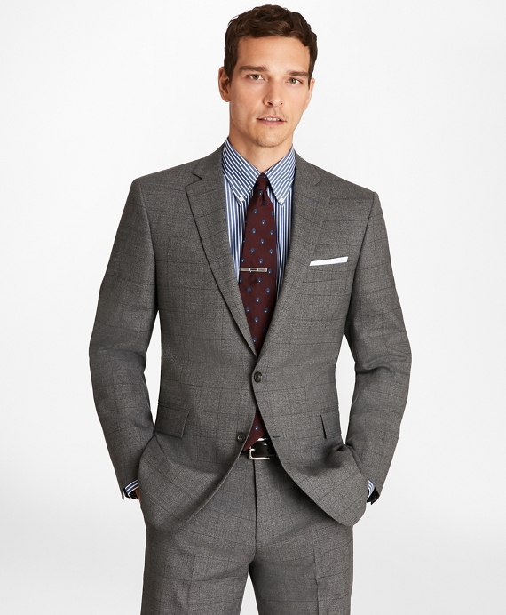 Regent Fit Blue Windowpane 1818 Suit Grey