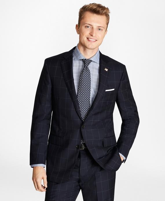 Golden Fleece® Regent Fit Windowpane Suit Navy