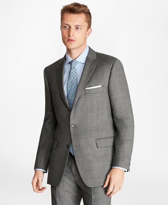 Regent Fit Saxxon™ Wool Plaid 1818 Suit Grey