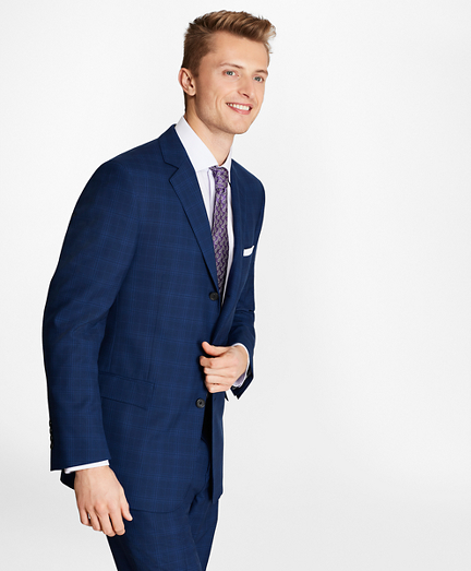 Regent Fit Saxxon™ Wool Three-Button Plaid 1818 Suit