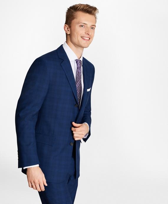 Regent Fit Saxxon™ Wool Three-Button Plaid 1818 Suit Blue