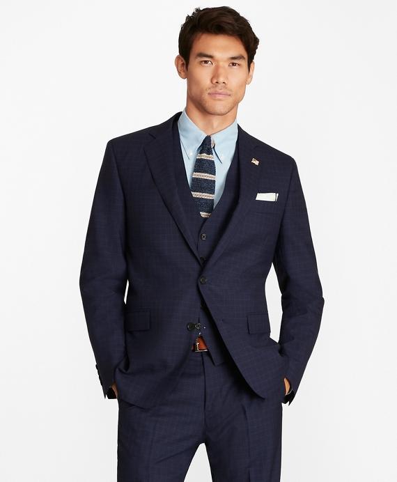 Regent Fit Check Three-Piece 1818 Suit Navy