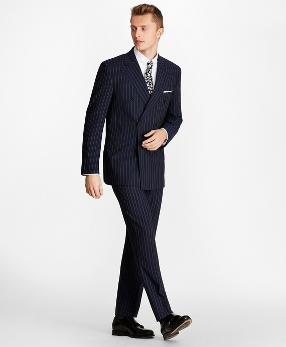 Regent Fit Double-Breasted Pinstripe 1818 Suit Navy-White