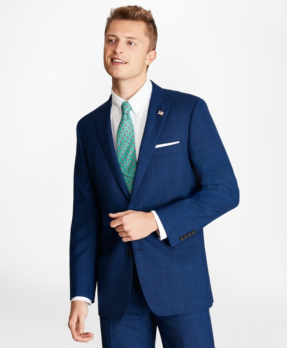 Regent Fit Plaid 1818 Suit Blue