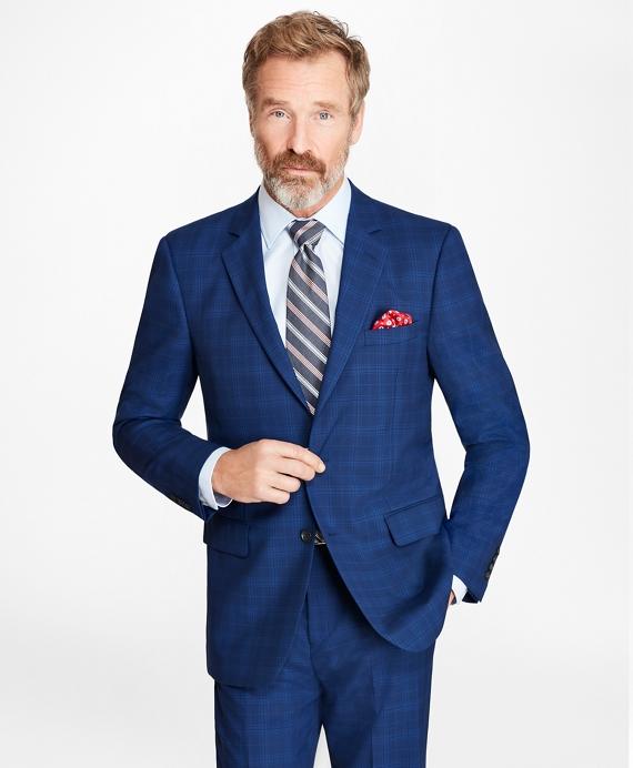 Madison Fit Saxxon™ Wool Plaid 1818 Suit Blue