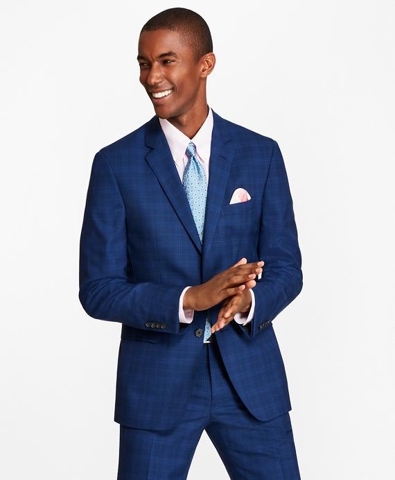 Milano Fit Saxxon™ Wool Plaid 1818 Suit Blue
