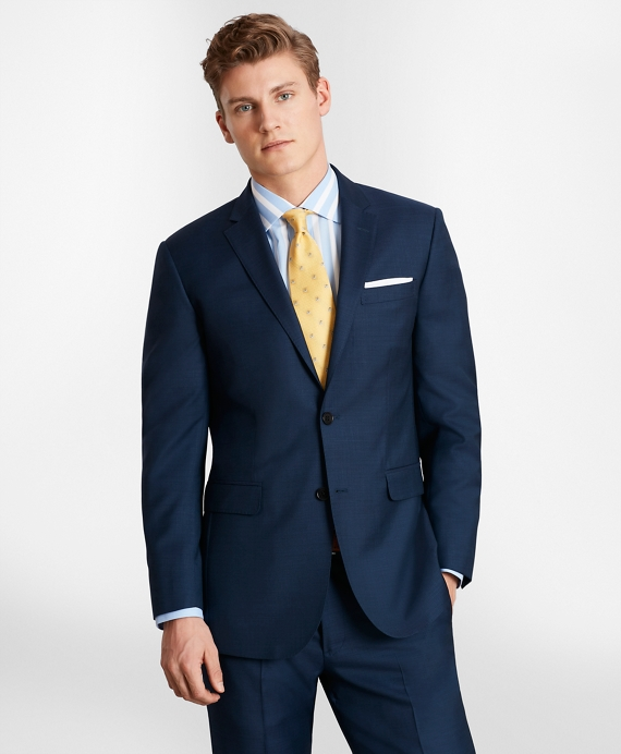 BrooksGate™ Milano-Fit Wool Twill Suit Jacket Blue