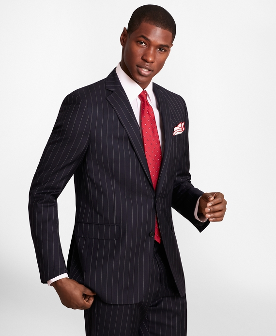 BrooksGate™ Regent-Fit Bead-Stripe Twill Suit Jacket Navy