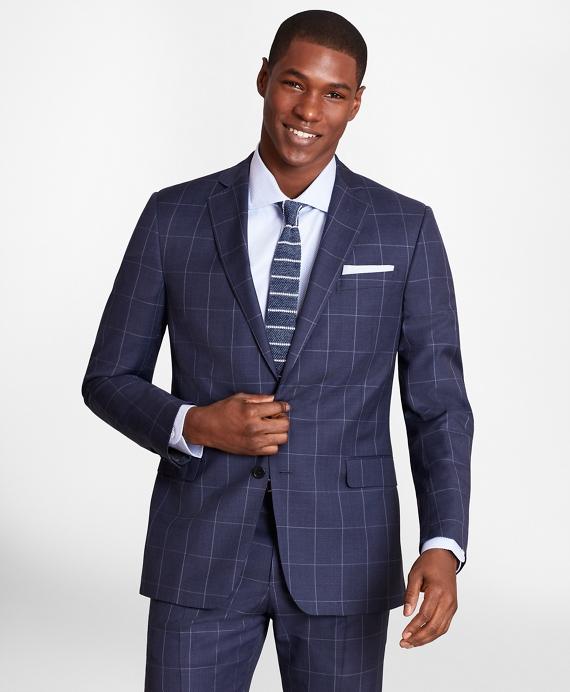 BrooksGate™ Regent-Fit Windowpane Wool Twill Suit Jacket Blue