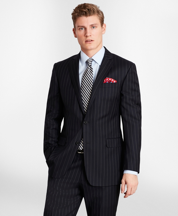 BrooksGate™ Milano-Fit Bead-Stripe Twill Suit Jacket Navy