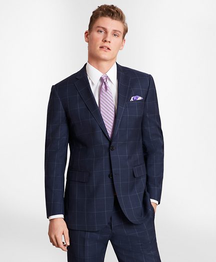 BrooksGate™ Milano-Fit Windowpane Wool Twill Suit Jacket