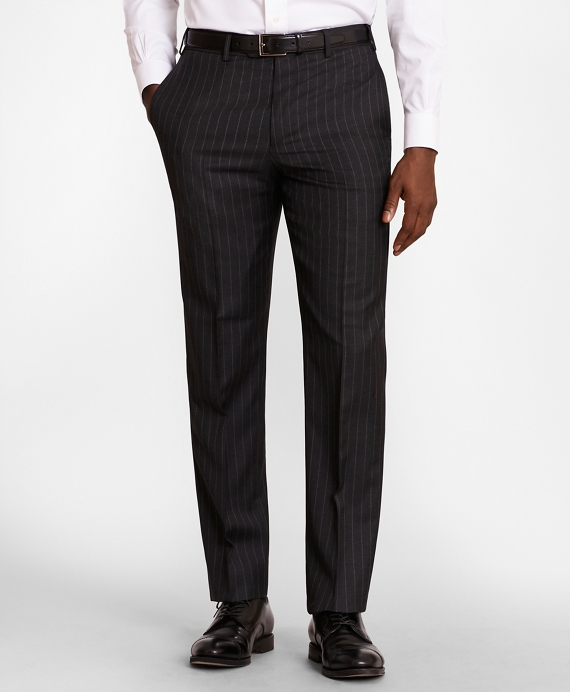 BrooksGate™ Regent-Fit Striped Wool Twill Suit Pants Charcoal