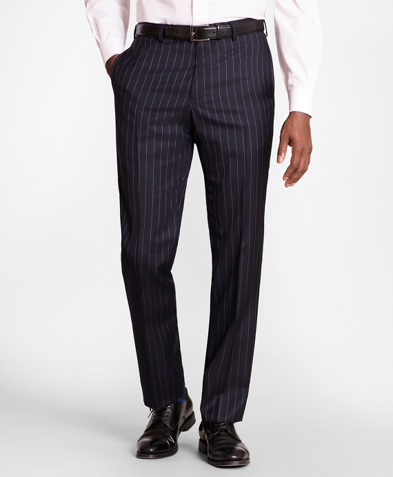 BrooksGate™ Regent-Fit Bead-Stripe Wool Twill Suit Pants Navy