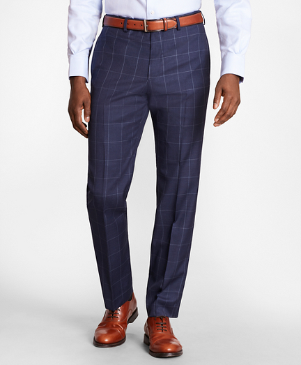 BrooksGate™ Regent-Fit Windowpane Wool Twill Suit Pants