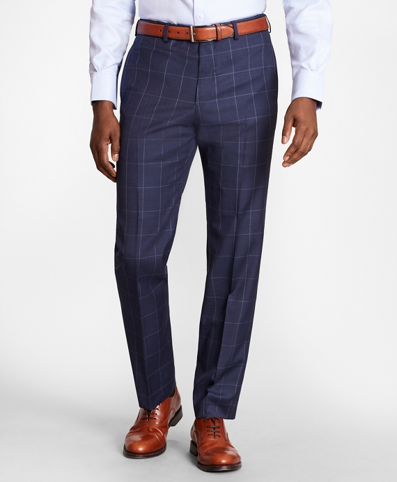 BrooksGate™ Regent-Fit Windowpane Wool Twill Suit Pants Blue