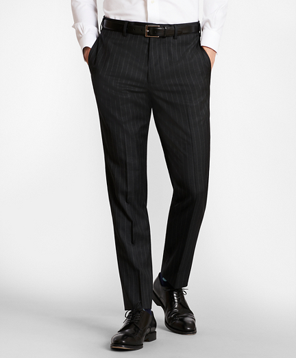 BrooksGate™ Milano-Fit Striped Wool Twill Suit Pants