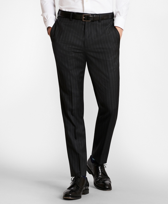 BrooksGate™ Milano-Fit Striped Wool Twill Suit Pants Charcoal