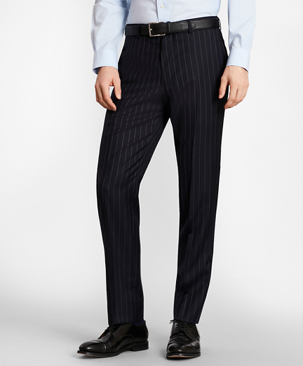 BrooksGate™ Milano-Fit Bead-Stripe Wool Twill Suit Pants