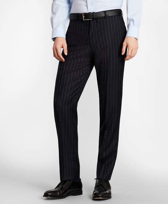 BrooksGate™ Milano-Fit Bead-Stripe Wool Twill Suit Pants Navy