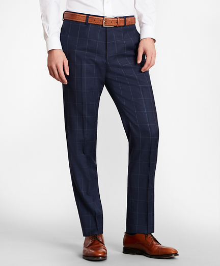 BrooksGate™ Milano-Fit Windowpane Wool Twill Suit Pants