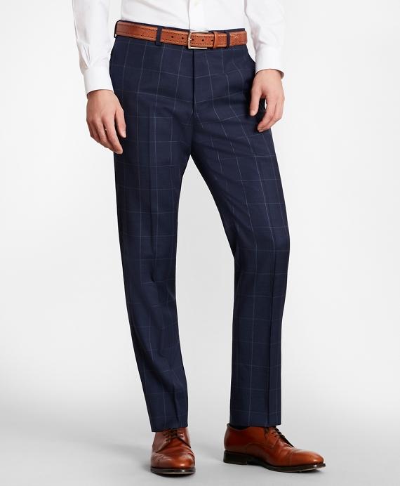 BrooksGate™ Milano-Fit Windowpane Wool Twill Suit Pants Blue