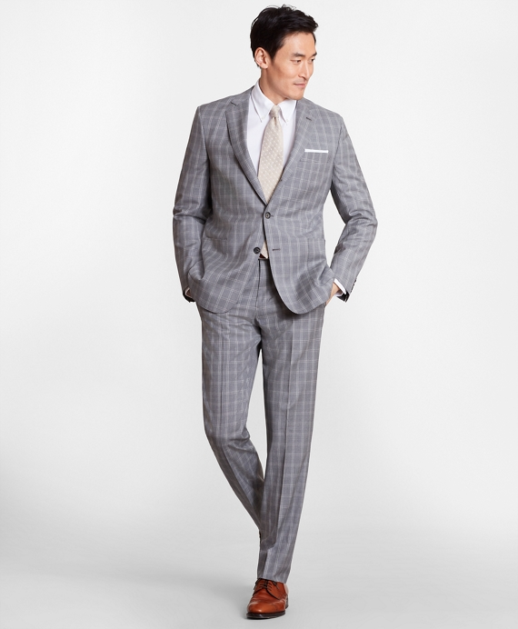Regent Fit Three-Button Check 1818 Suit Grey