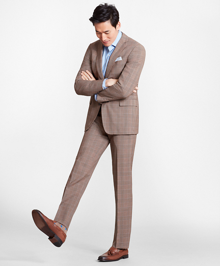 Regent Fit BrooksCool® Brown Check Suit