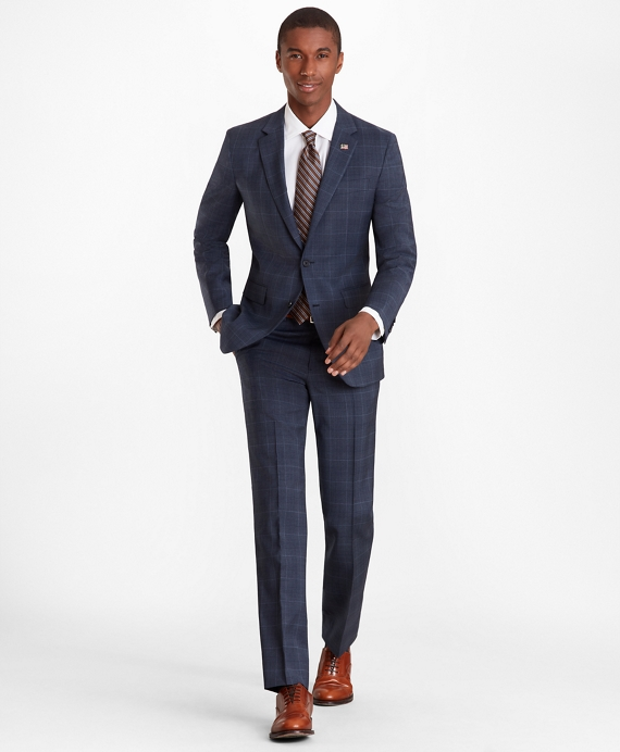 Milano Fit Plaid 1818 Suit Dark Blue