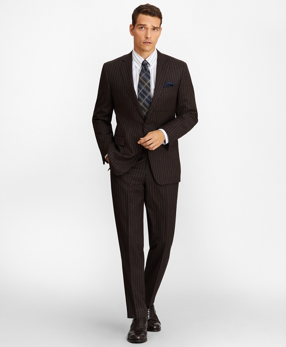 Regent Fit Stripe 1818 Suit Brown
