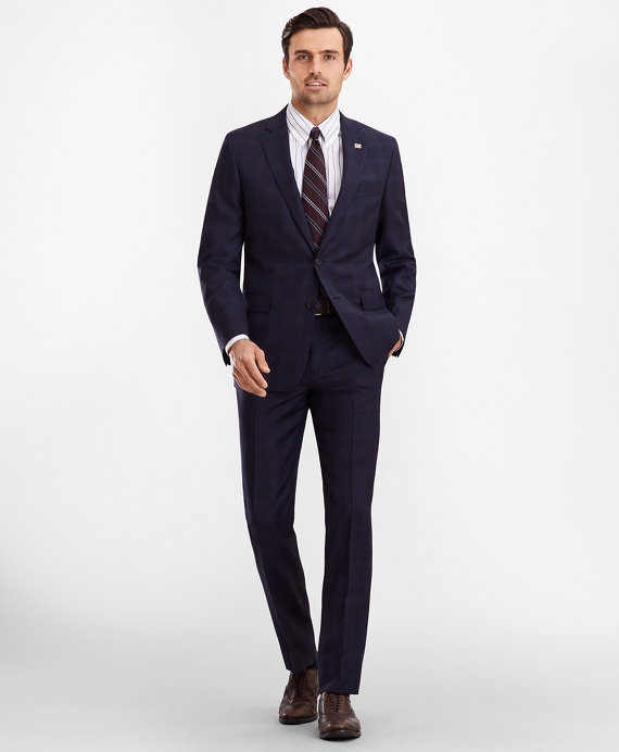 Regent Fit Plaid 1818 Suit Navy