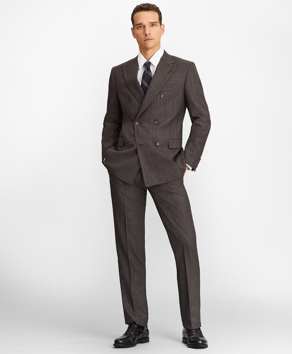 Regent Fit Double-Breasted 1818 Suit Brown