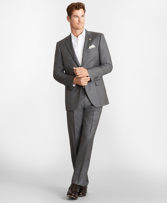 Madison Fit Two-Button Stripe 1818 Suit Grey