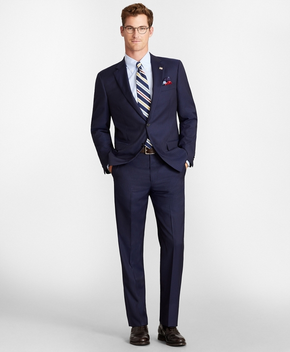 Madison Fit Two-Button Stripe 1818 Suit Navy
