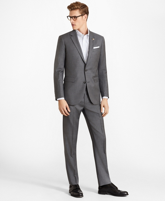 Milano Fit Two-Button Stripe 1818 Suit Grey