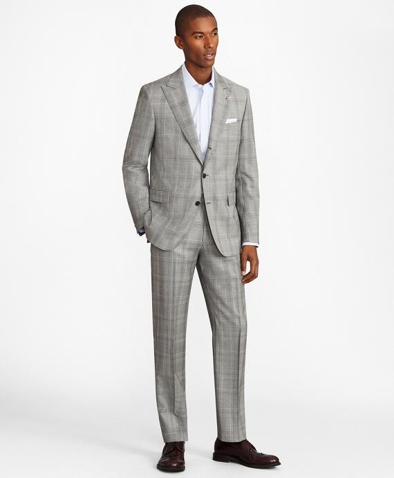 Regent Fit Three-Button Plaid 1818 Suit Grey