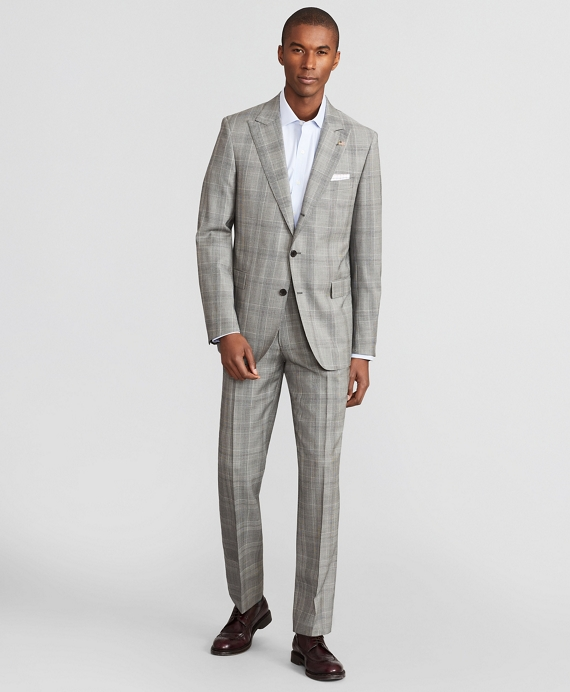 Madison Fit Three-Button Plaid 1818 Suit Grey