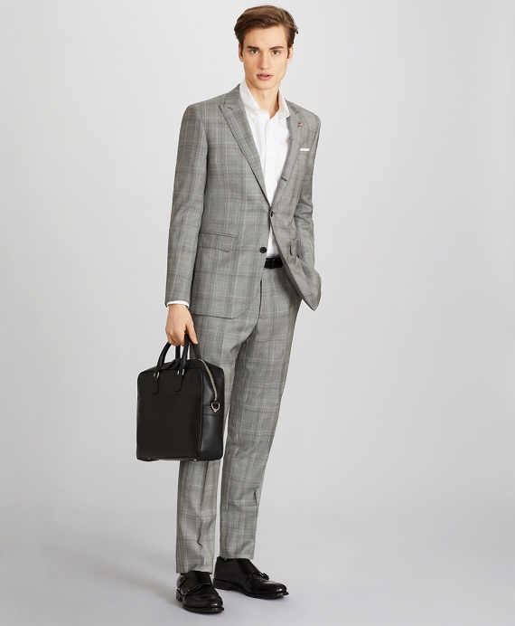 Milano Fit Three-Button Plaid 1818 Suit Grey