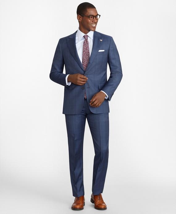Regent Fit Three-Button Plaid 1818 Suit Navy
