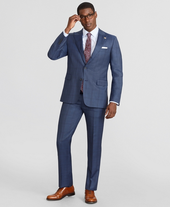 Madison Fit Three-Button Plaid 1818 Suit Navy
