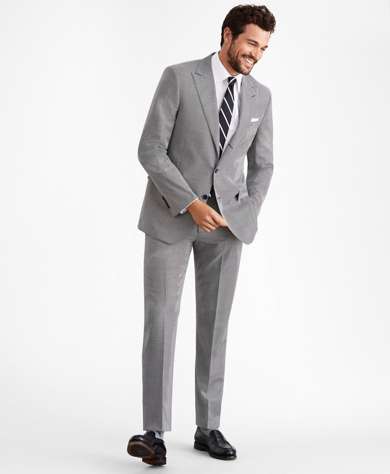 Regent Fit Three-Button Houndstooth 1818 Suit Grey