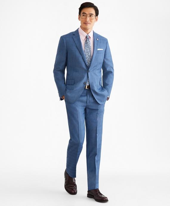 Regent Fit Two-Button Plaid 1818 Suit Blue
